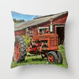 1952 Red Tractor Throw Pillow