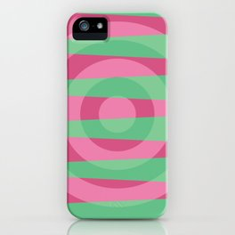 Pink green circles apstract design iPhone Case