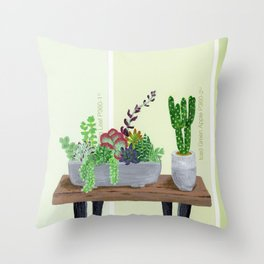 Cacti and Succulents on Greens Throw Pillow