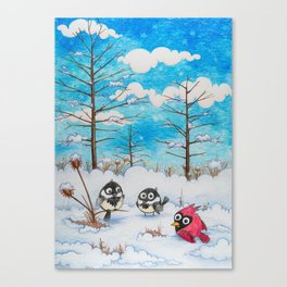Winter: Two Chickadees and a Cardinal Canvas Print