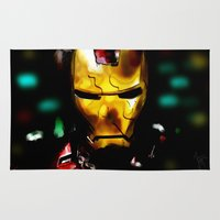 ironman Area & Throw Rugs featuring Ironman portrait by André Joseph Martin