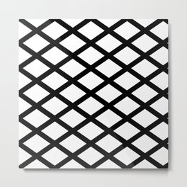 rhombus and tartan 2– black and white Metal Print