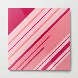 Pink diagonal stripes pattern Metal Print