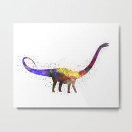 Diplodocus dinosaur in watercolor Metal Print