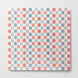 Coral Geometric Circles Retro Mid Century Modern Metal Print