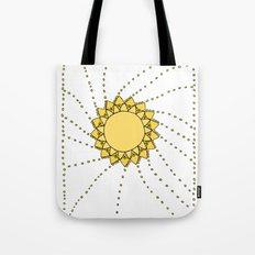 Celestial Swirling Sun Boho Mandala Hand-drawn Illustration on White Tote Bag