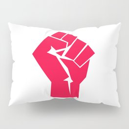 Raised fist, black power, fight for your rights (red version) Pillow Sham