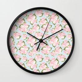 Pink Roses on Blue Polka Dots Wall Clock