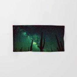milky way cacti teal green Hand & Bath Towel