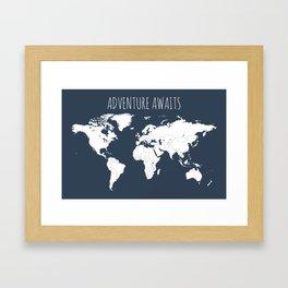 Adventure Awaits World Map in Navy Blue Framed Art Print