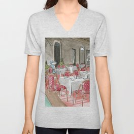 Boca Raton Cafe/ A Woman In A Cafe/ A Woman Is Alone/ A Cafe In Boca Raton Unisex V-Neck