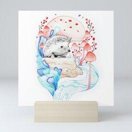 Hedgehog in Mushrooms Mini Art Print