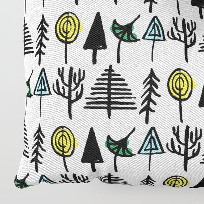Hand drawn tree pattern Floor Pillow