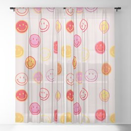 Smiling Faces Pattern Sheer Curtain