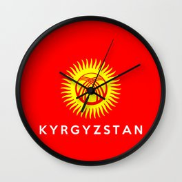 Kyrgyzstan country flag name text Wall Clock