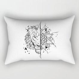 Lion Mandala Handmade Drawing, Made in pencil and ink, Tattoo Sketch, Tattoo Flash, Blackwork Rectangular Pillow