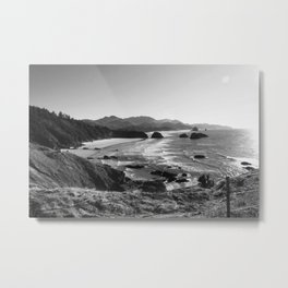 Ecola in Black and White Metal Print
