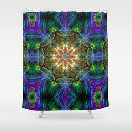 Neon - Fractal - Mandala - Kaleidoscope - Manafold Art Shower Curtain