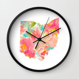 floral ohio state map Wall Clock