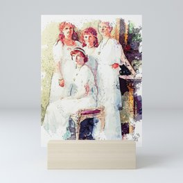 the Romanoff sisters from a group portrait watercolor by Ahmet Asar Mini Art Print