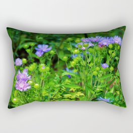 Lavender Blue Flowers Rectangular Pillow