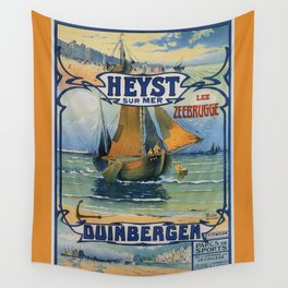 Antique travel fishing boat Heist Duinbergen Wall Tapestry