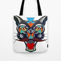 panther Tote Bags featuring panther by Ronan Holdsworth