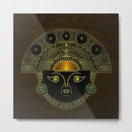 God Sun mask (INTI) Metal Print