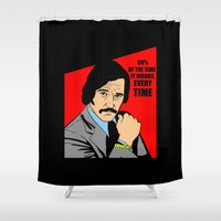 will ferrell Shower Curtains featuring 60% of the time it works, every time - Brian Fantana by Buby87