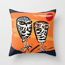 Athene cunicularia Owl Throw Pillow