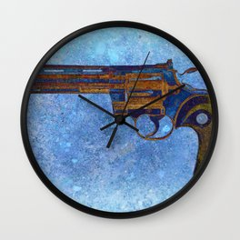 Colt Python 357 Magnum on Blue Back Ground Wall Clock