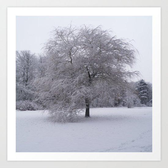 Tree and snow Art Print