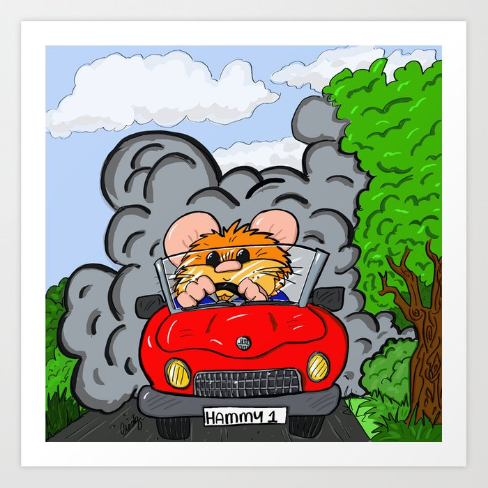 hammy goes for a drive art print by hairyfarmersdaughter society6