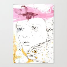 She speaks in bubbles Canvas Print