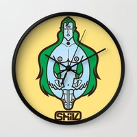 shiva Wall Clocks featuring Shiva II by Tshirtbaba