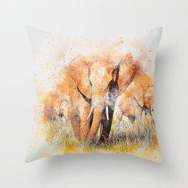 Elephant Animal Family Throw Pillow