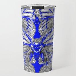 BLUE ART DECO BUTTERFLIES ABSTRACT PATTERNS Travel Mug