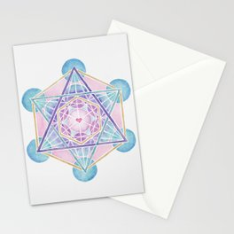 Watercolor Metatron's Cube Sacred Geometry Stationery Cards
