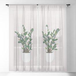 Minimal Art - Indoor Plant, ZZ Plant Sheer Curtain