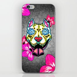 Slobbering Pit Bull - Day of the Dead Sugar Skull Pitbull iPhone Skin