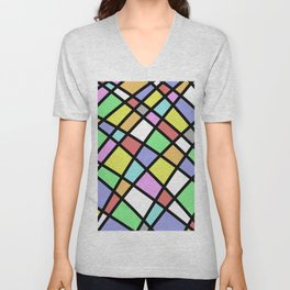 Crazy Pastel Paving - Abstract, pastel coloured mosaic paved pattern Unisex V-Neck
