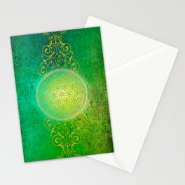Flower Of Life Vintage gold green Stationery Cards