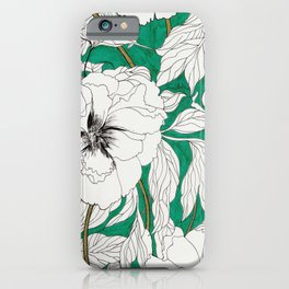 green peonies iPhone Case