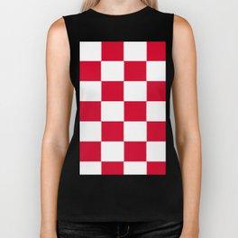 Red and white zig zag checkered artwork Biker Tank