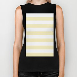 Horizontal Stripes - White and Blond Yellow Biker Tank