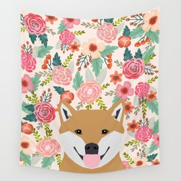 Shiba Inu florals spring summer bright girly hipster dog meme shiba ink puppy pet portraits Wall Tapestry