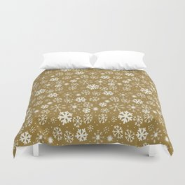 Snowflake Snowstorm With Golden Background Duvet Cover