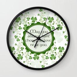Irish Blessing Shamrock Background Wall Clock