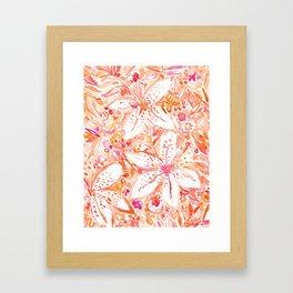 LILY SUNSET Peach Beachy Floral Framed Art Print