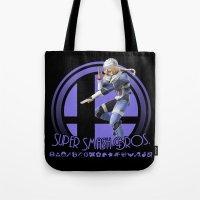smash bros Tote Bags featuring Sheik - Super Smash Bros. by Donkey Inferno